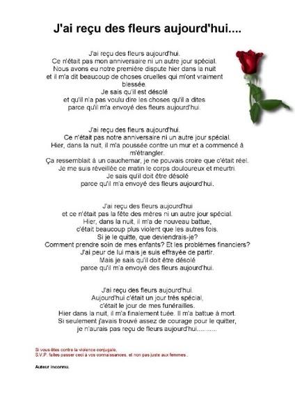 """poème """"J'ai reçu des fleurs aujourd'hui"""""""
